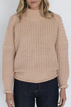 Willow Chunky Rib Cotton Blend Salmon Jumper