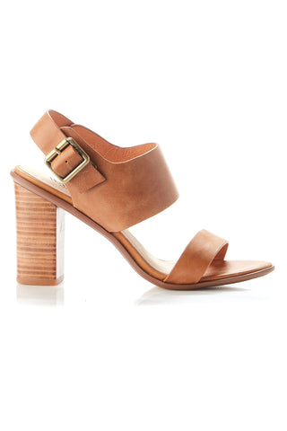 Havana Tan Leather Block Heel Shoe