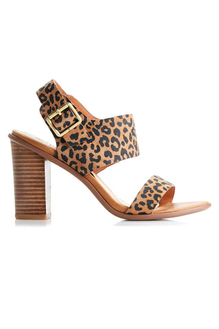 Havana Tan Leopard Leather Block Heel Shoe