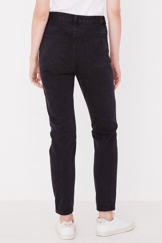 High Waist Rigid Washed Black Denim Jean