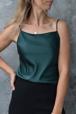 High Shine Emerald Satin Soft Cowl Cami