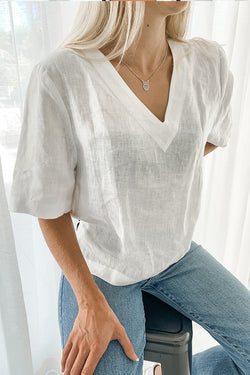 Holiday SS White Linen V Neck Top