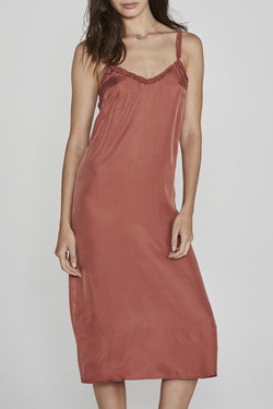 Honey Cupro Slip Midi Rust Dress