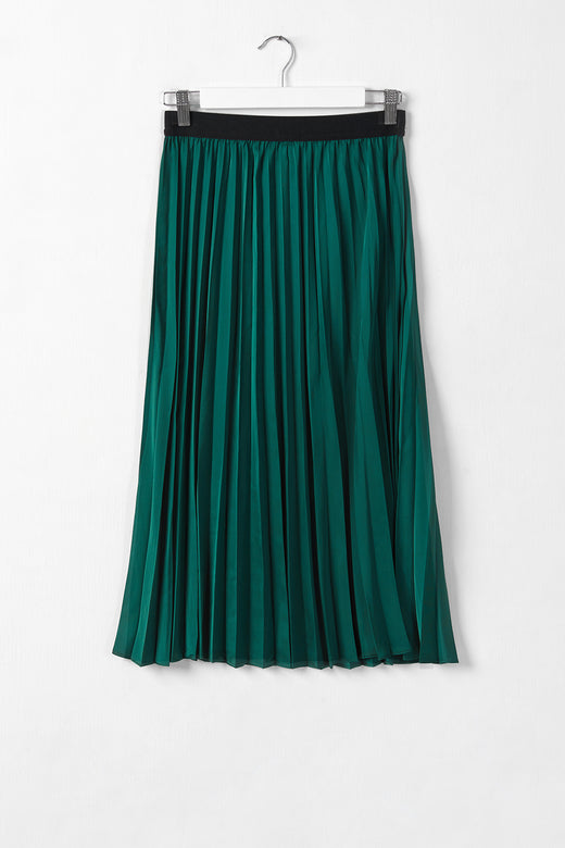 Hopeful Forest Satin Pleated Skirt
