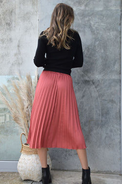 Hopeful Brick Satin Elastic Waist Midi Pleat Skirt
