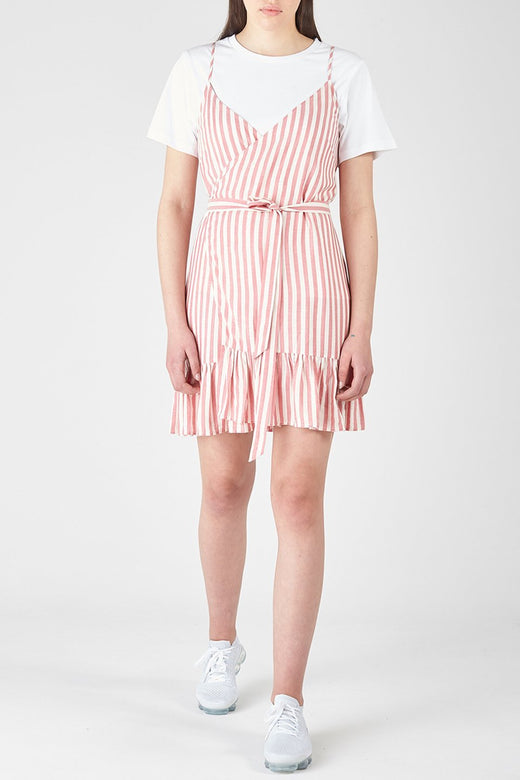 Farrow Wrap Red Stripe Dress