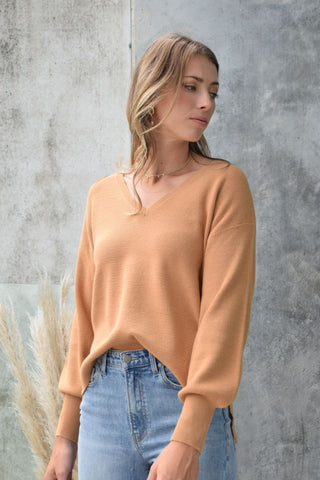 Humility Caramel Soft Fine Gauge Balloon V Neck Knit