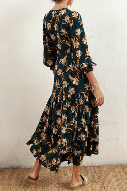 Bonita Peacock Floral LS Wrap Midi Dress