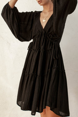 Oleander Black Stripe Smock Drawstring LS Dress