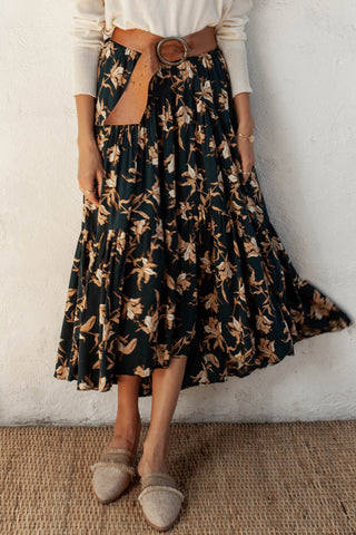 Russo Peacock Floral Tiered Maxi Skirt