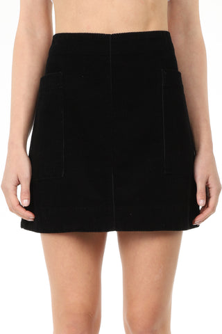 Corduroy Black Aline Mini Skirt