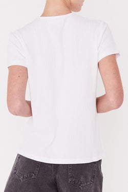 Ida SS White Rib Slim Fit Tee