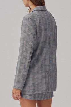 Ignition LS Oversized Grey Check Blazer