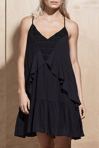 Illume Lace Panel Cami Black Dress