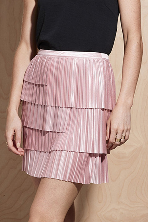 Illume Pleat Layered Pink Skirt