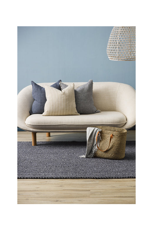 Indira Linen Cushion with Feather Inner French Navy 55x55cm