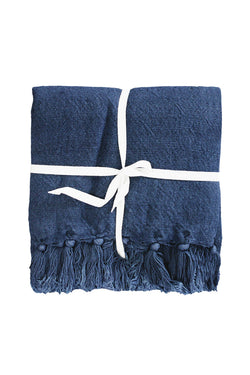 Indira Linen Cotton Blend Indigo Blue Throw 130x190cm
