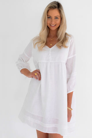 Jasmine LS Button Mini White Linen Dress