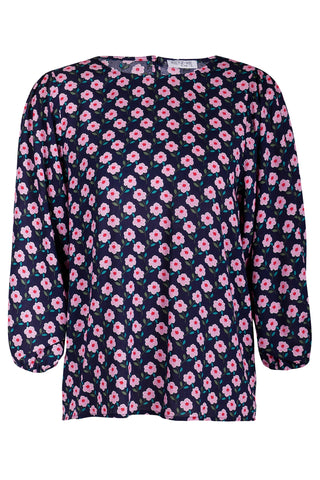 Incentive Navy Floral Rayon LS Top