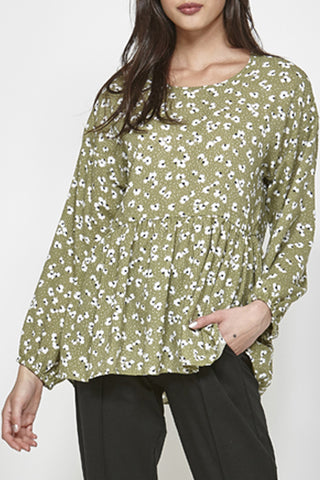 Spur Along Light Khaki Ditsy Floral LS Top