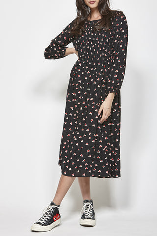 Hanker Black Floral Print LS Dress