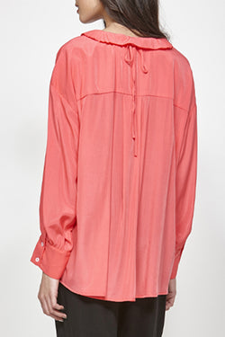 Tuck Ruffle Collar Pink Shirt