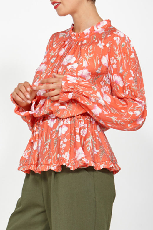 Wakeful LS Orange Floral Blouse