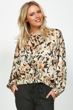 Awake Moss Animal Silky Satin Top