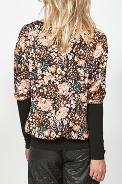 Blast Floral Sleeve Black Top