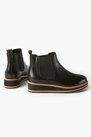 Jade Stacked Black Leather Boot