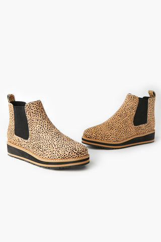 Jade Stacked Tan Cheetah Pony Boot