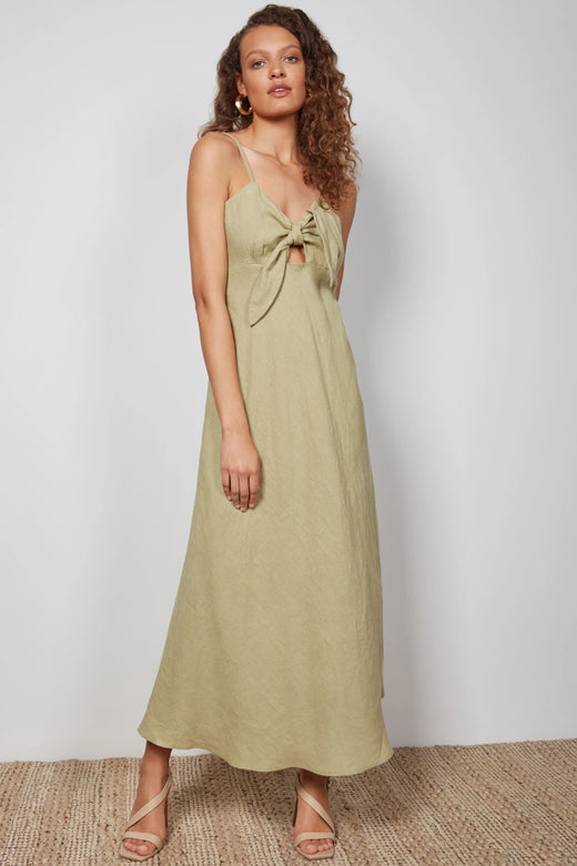Jocie Knoted Strappy Sage Maxi Dress