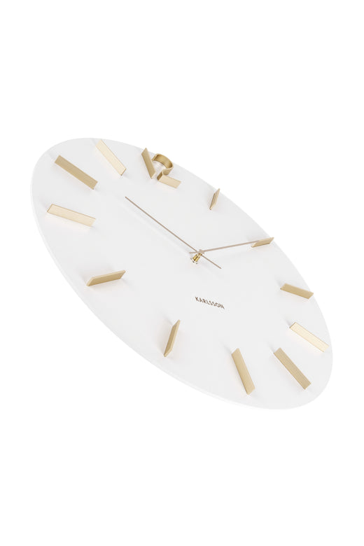 Meek White Round Clock Gold Accents