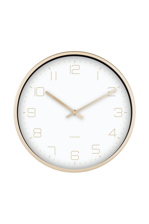 Elegance White Wall Clock with Gold Accents