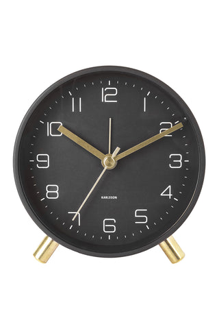 Lofty Black Round Alarm Clock