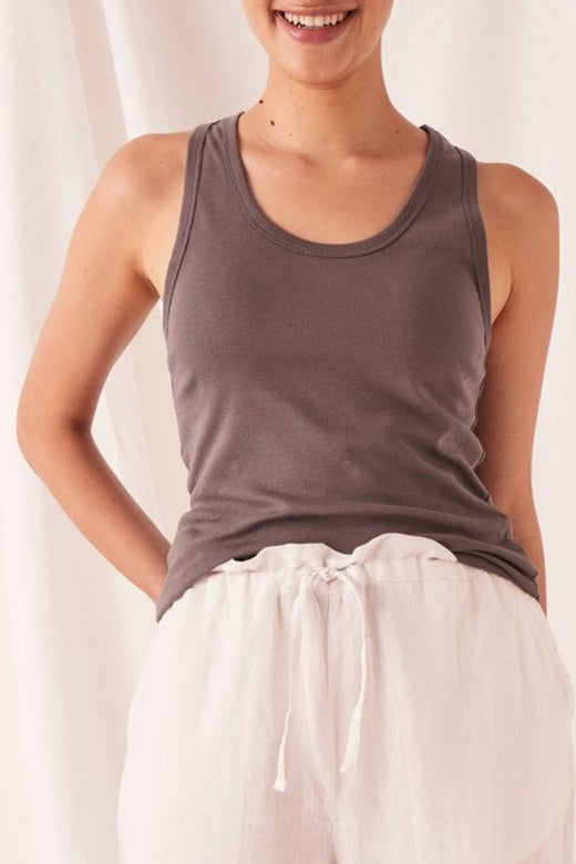 Kai Rib Sable Charcoal Cotton Tank