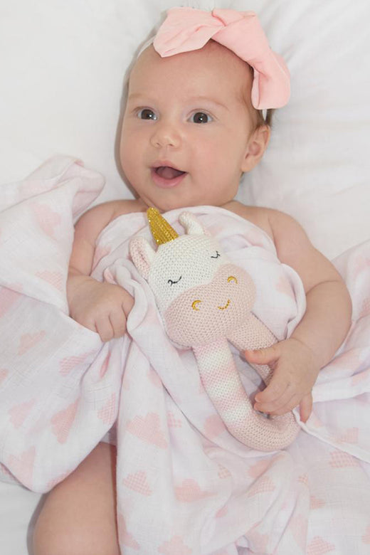 Kenzie Unicorn Rattle + Blush Muslin Swaddle