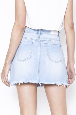 Kick High Rise Mid Thigh Light Blue Mini Denim Skirt
