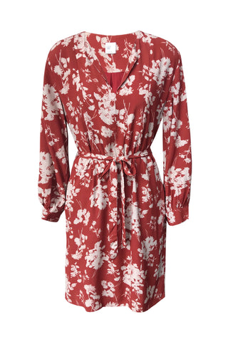Pay Off LS Red Floral Print Dress