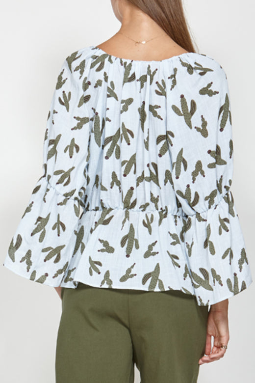 Go Together Light Blue Cactus Print Gathered Waist LS Top