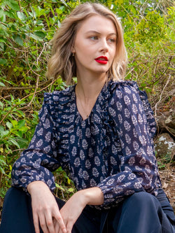 Glimpse Frill Navy Print Top
