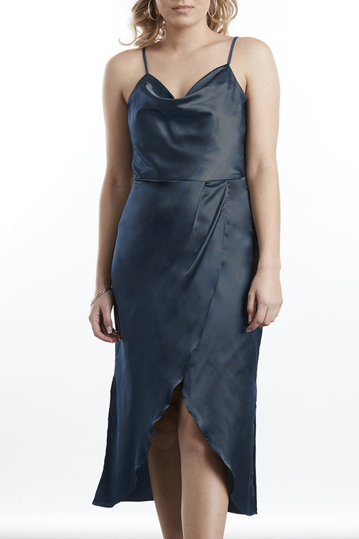 Jet Setter Cowl Neck Petrol Satin Tulip Midi Dress