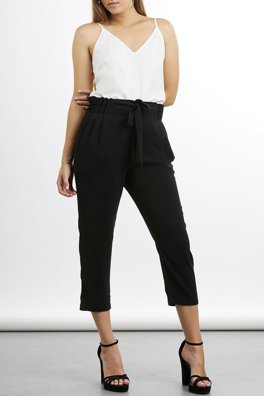 Kylie Cropped High Waisted Black Pant