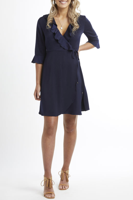 Radiant Midi Sleeve Ink Wrap Dress