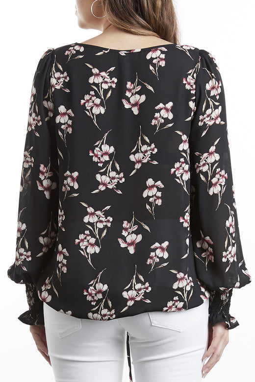 Florida Keyhole LS Black Lily of the Valley Top
