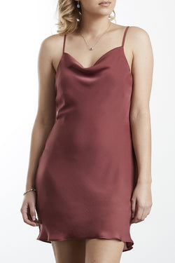 Vacation Biscuit Washer Satin Mini Cowl Nk Slip Dress