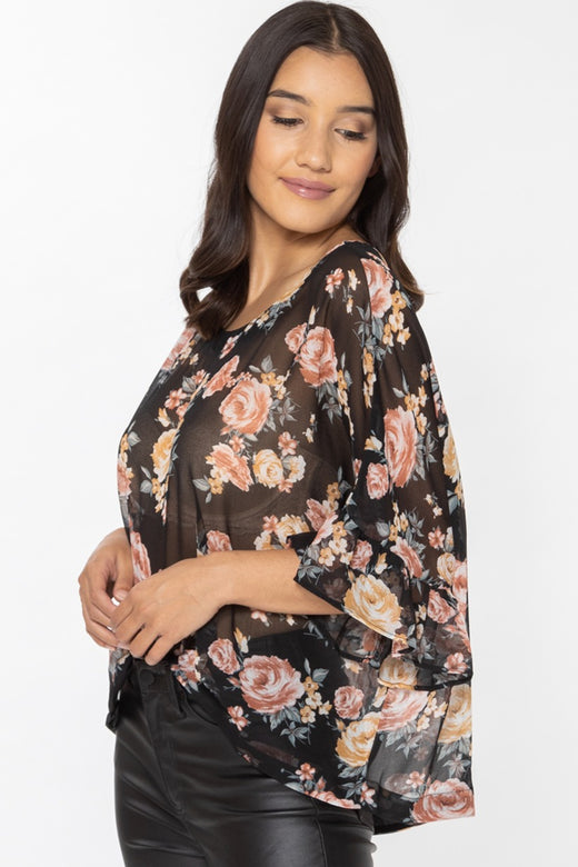 Monte Carlo Black Magical Rose Ruffle Sleeve Relax Top