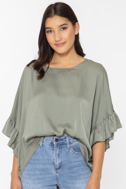 Monte Carlo Sage Washer Satin Ruffle Sleeve Relax Top