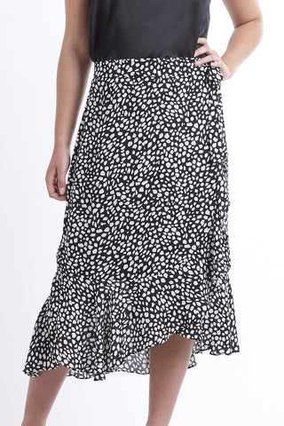 Gratitude Wrap Black Animal Spot Skirt