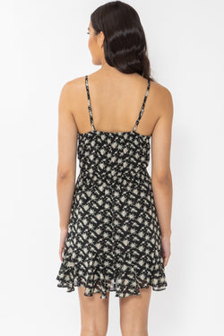 Ocean Days Black Floral Strappy Frill Hem Mini Dress